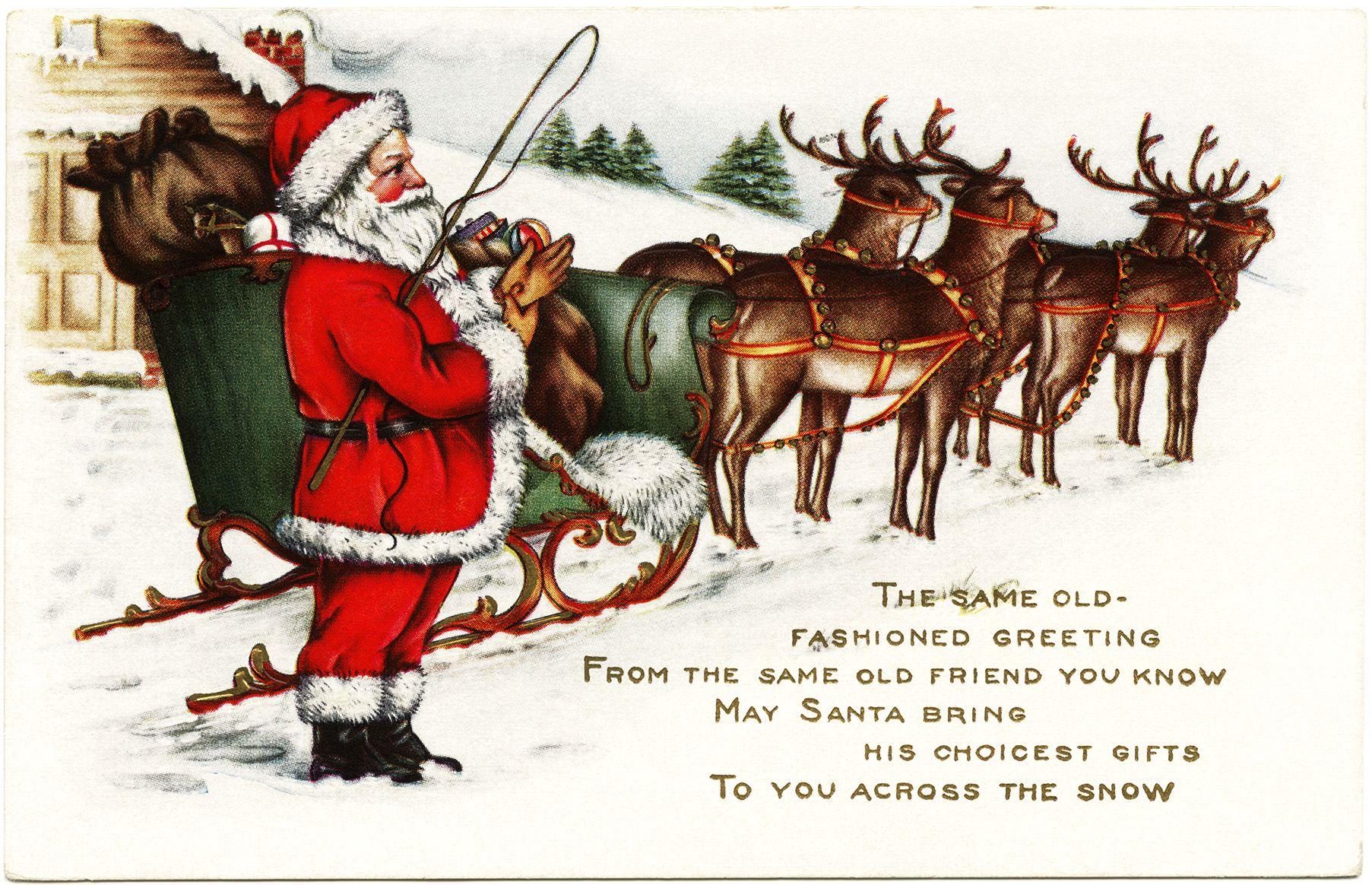 Free Vintage Christmas Postcard Graphic ~ Santa, His Sleigh, and Reindeer