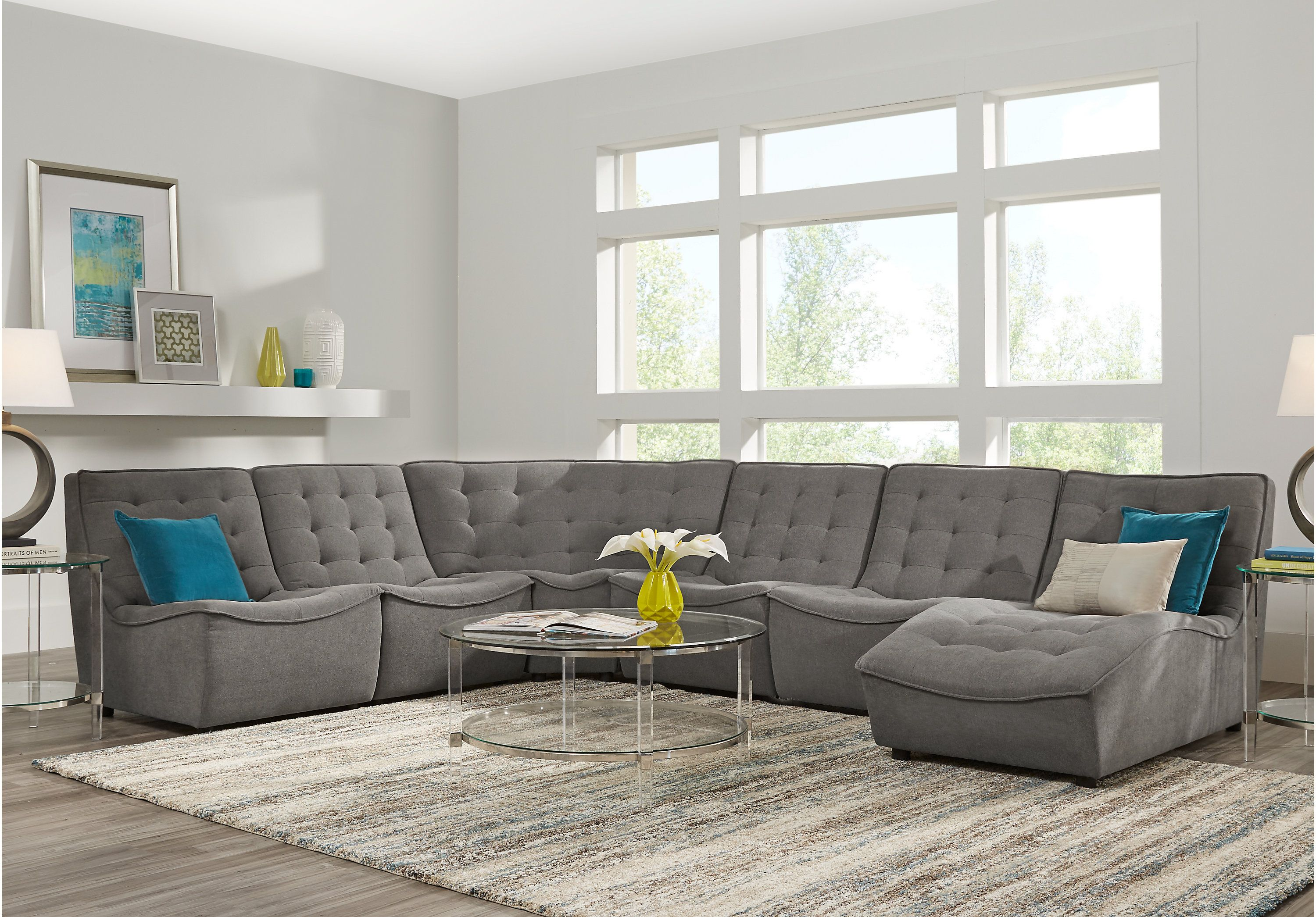 Nathan Square Gray 6 Pc Sectional Living Room Sets Gray