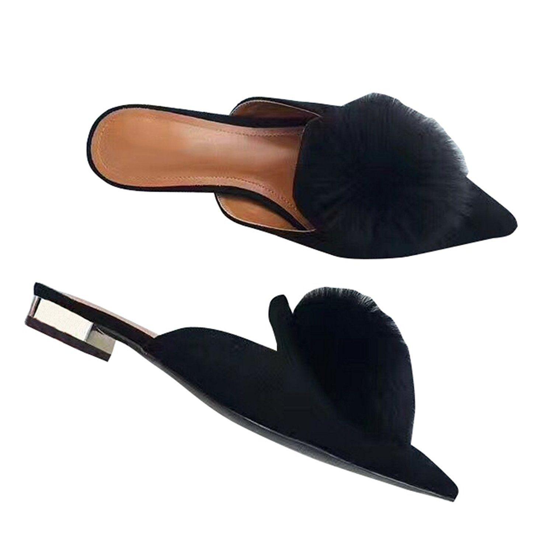 df7033cce7873 Amazon.com | VFDB Pom Pom Flat Mules Womens Fashion Pointy Slippers ...