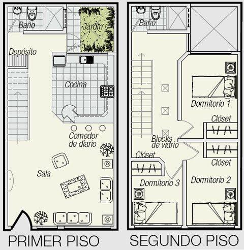 Planos de triplex planos de minidepartamento de 3 pisos en for Piso 60 metros cuadrados 3 habitaciones