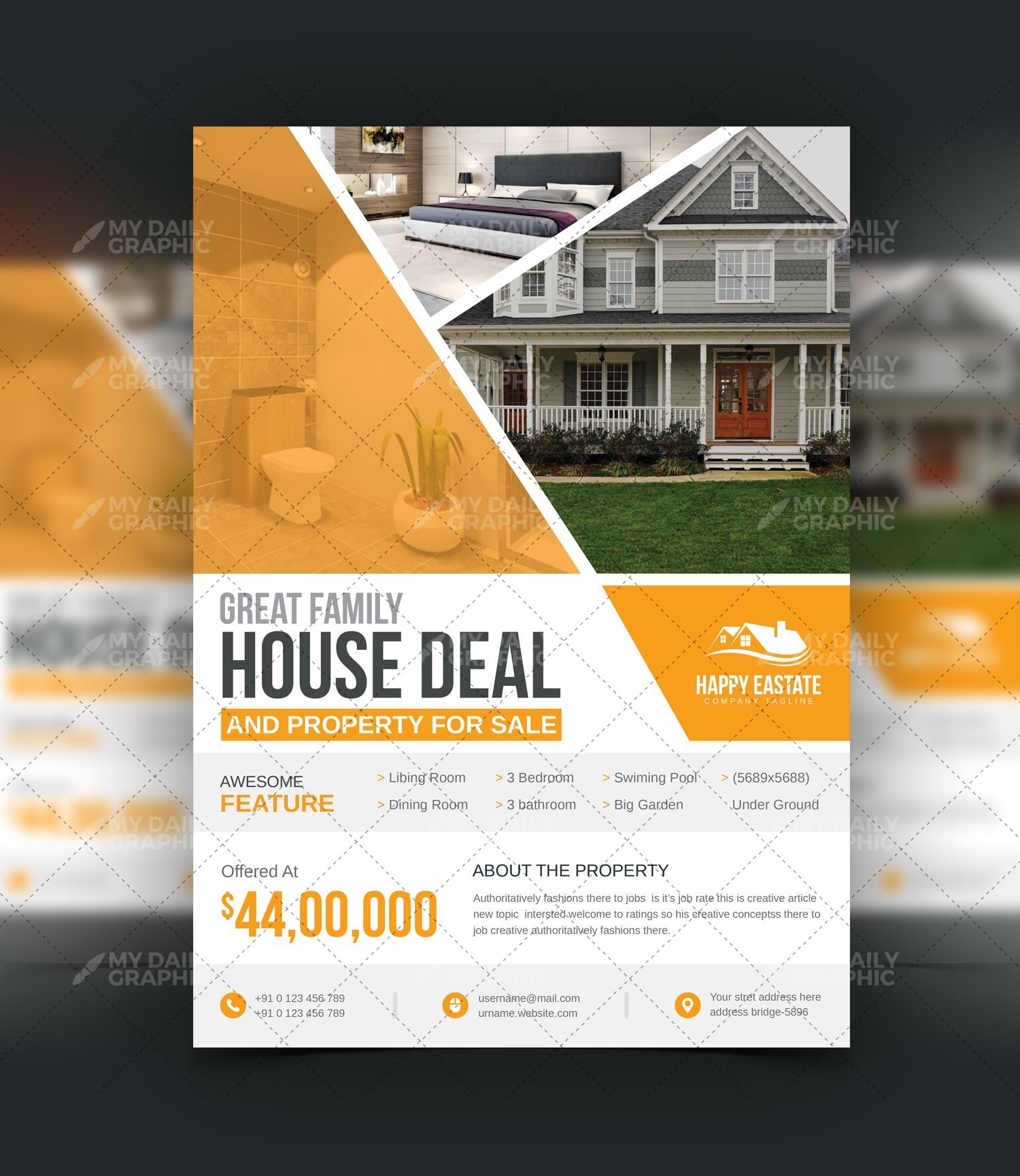 Real Estate Property Flyer Template Template Psd