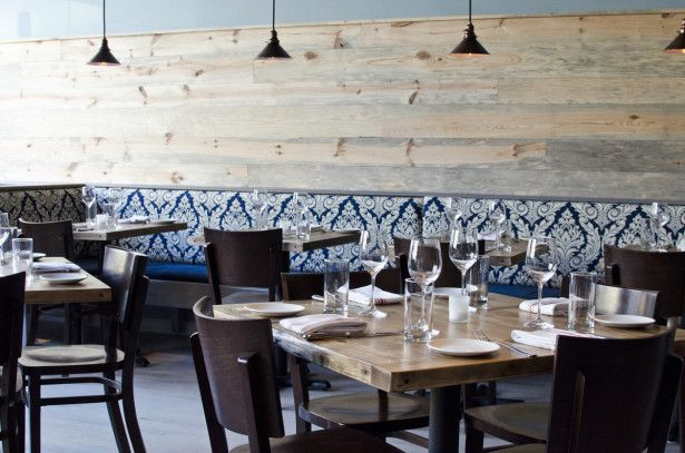 interior artistic white floral on navy blue wallpaper design combined with laminated wooden wall design restaurant interiorsrestaurant ideascozy - Blue Restaurant Ideas