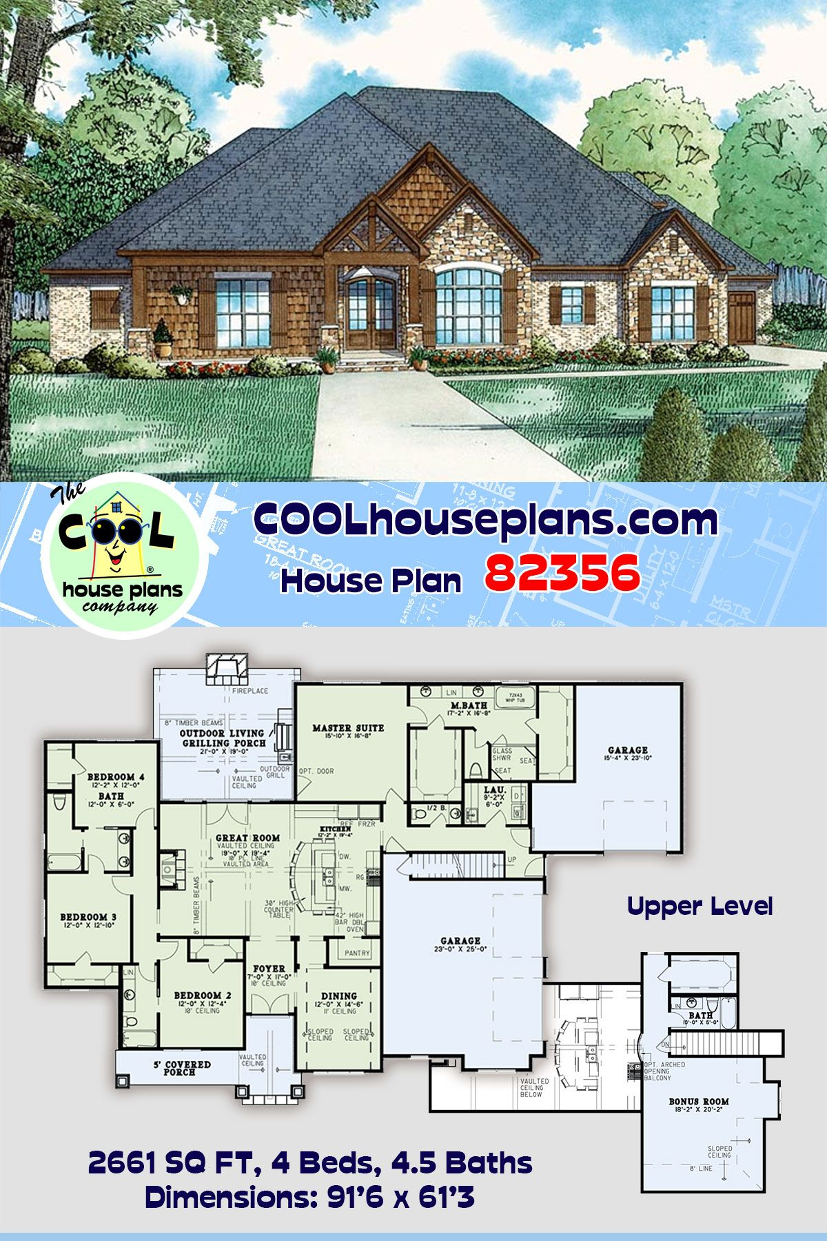 European Style House Plan 82356 With 4 Bed 5 Bath 3 Car Garage House Plans European Style Homes French House Plans