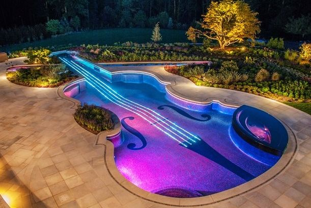 Pools Elegant Violin Shaped Pool Landscaping Ideas With Colorful Pool Lights Pretty Ornamental Plants In Concrete Plante Swimming Pool Designs Cool Pools Pool