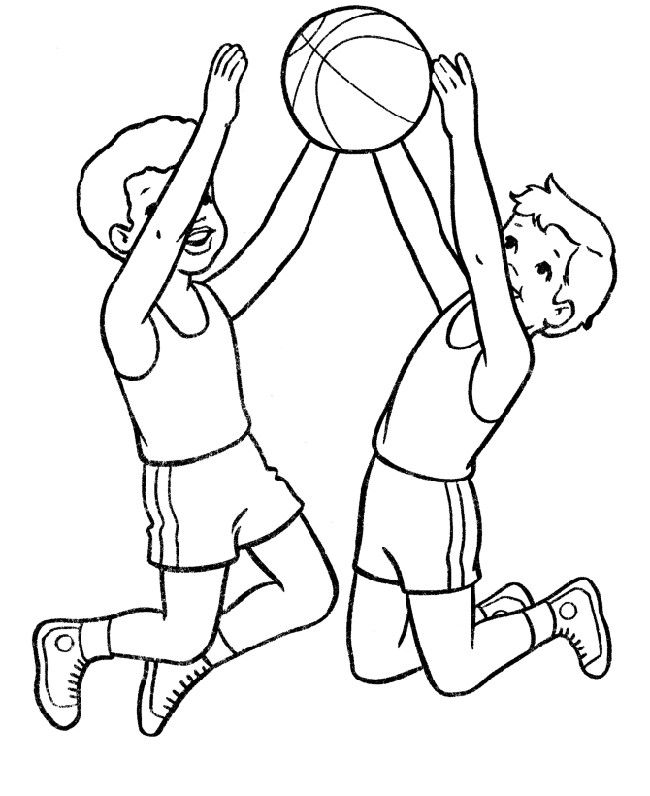 Two boys Jump in the air basketball coloring page Two boys Jump
