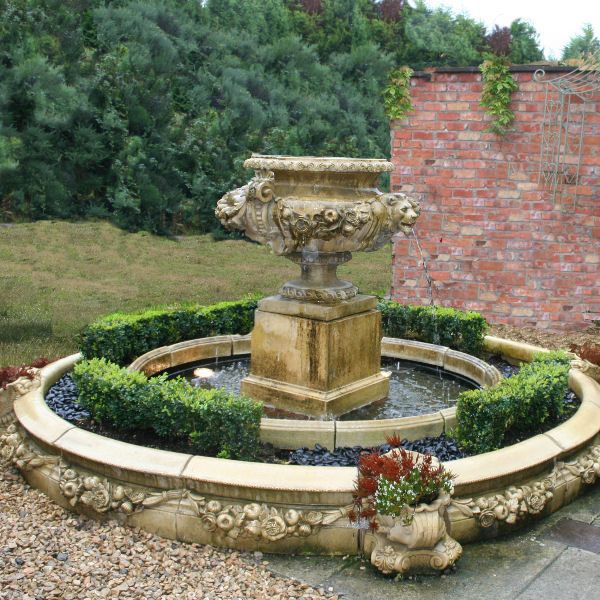 Merveilleux Lion Mask Garden Stone Fountain With Varsailles Pool Surrouns And  Underplinth