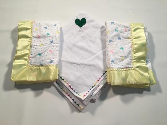 Hearts baby blanket set/ gender neutral baby gift/ burp cloth / security blanket /swaddling blanket /toddler gift/ add embroidery #securityblankets