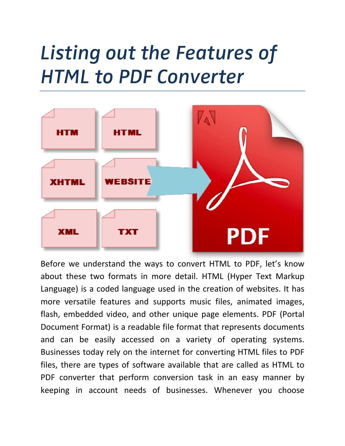 Listing out features of html to pdf converter Markup