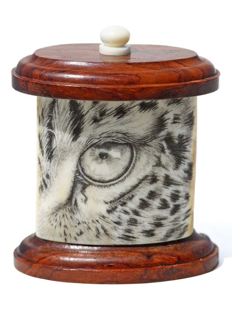"""Leopard Eye"" Color scrimshaw on ancient walrus tusk ivory jar by David Smith. If you ever find yourself this close to a leopard's eye, you're toast. Riveting depiction by Smith on this one. We don't have many of these smaller boxes made. Takes just the right piece of ivory for these.  Size: 2""W x 2 1/2""W x 1 1/4""D Price: $675.00 -- on ScrimshawGallery.com #scrimshaw"