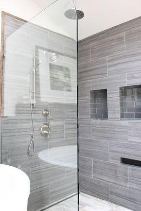 12x24 Tiles All The Way To The Ceiling With Minimal Grout Lines Via Design Indulgence Before And A Large Tile Bathroom Bathroom Shower Tile Gray Shower Tile