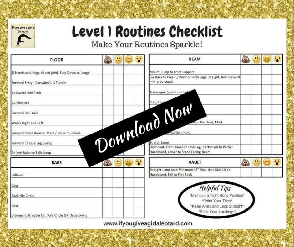 Level 1 Gymnastics Skills Checklist Routines Gymnastics Mom Stuff Gymnastics Skills Gymnastics Gymnastics Levels