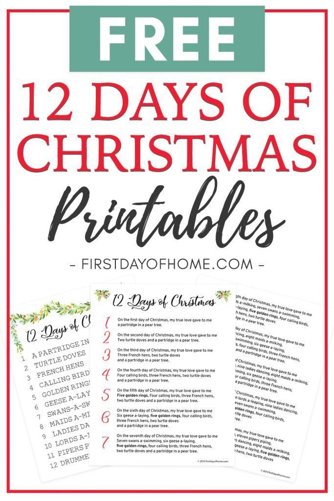 How to Celebrate the 12 Days of Christmas Free Lyrics Printable   12 days of christmas ...