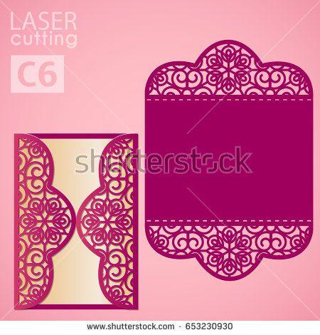 Vector Die Laser Cut Envelope Template Wedding Lace Invitation