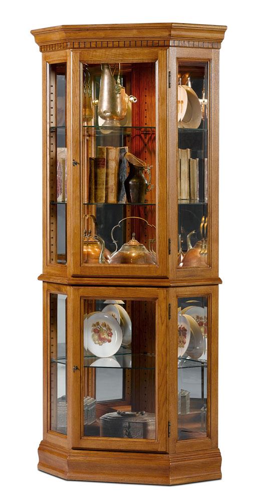 Lorraine Oak Corner Curio Cabinet Dining Room Accessories Curio Cabinet Home Bar Cabinet