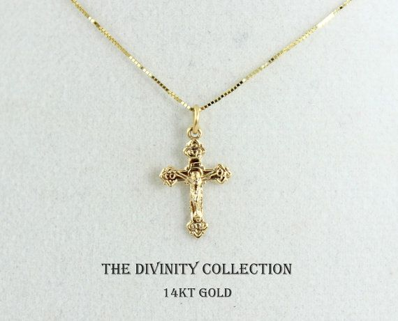 SOLID 14KT GOLD Crucifix Cross Necklace by divinitycollection