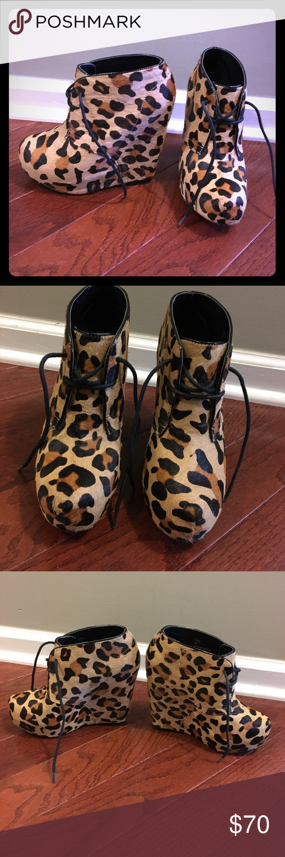 Steve Madden leopard print wedges Super cute pair of annnie-l leopard print wedges in great condition. These were only worn a couple times. Size 7.5 Steve Madden Shoes Wedges