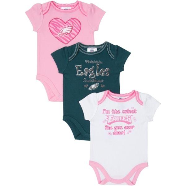 68855fab3 Philadelphia Eagles Newborn/Infant Girls 3-Pack Bodysuit Creepers - Pink