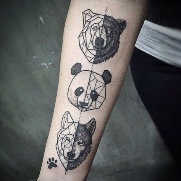 Wolf Bear Panda Inner Arm Tattoos Animals Tattoo
