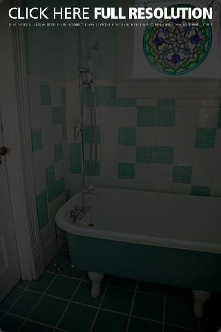 Glass tiles, claw foot tub