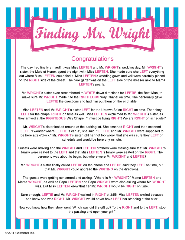 this hilarious gift passing game has everyone scrambling as they listen for you to say right or left while you read about mr wright and his bride to be
