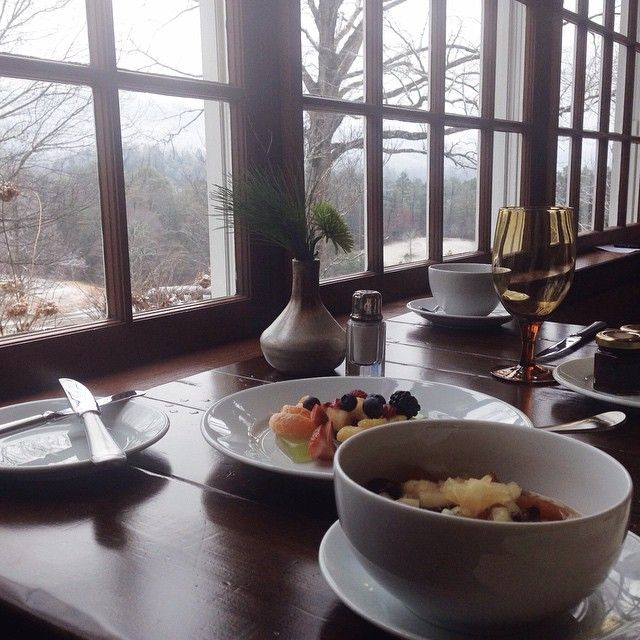 Breakfast and a beautiful view and oat porridge with dried plums, poached apples, gluten free buckwheat and apricot muffins with homemade jams, and a side of fresh fruit @blackberryfarm | with McKel of Nutrition Stripped