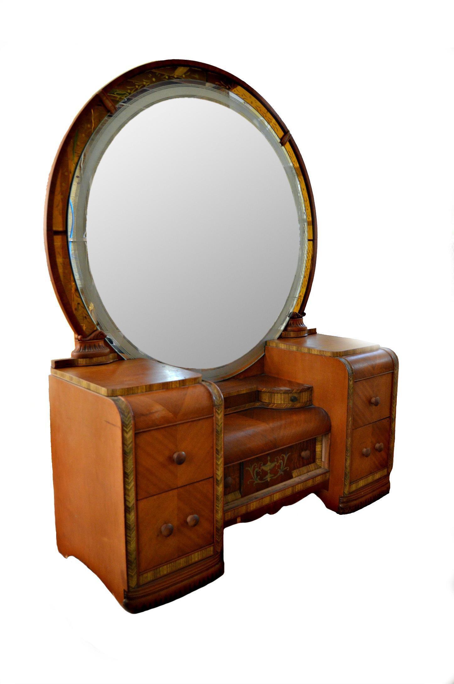 vintage vanity desk with mirror. Vintage Art Deco Waterfall Vanity Desk  Mirror Image 1 of 8 Shabby here there