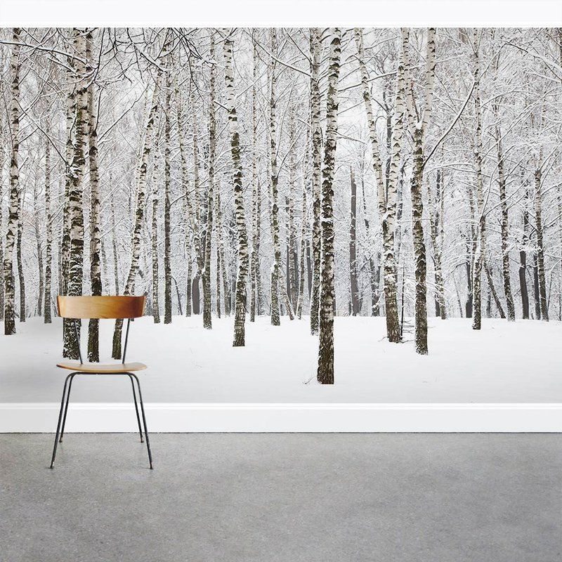 """Snow Covered Winter Birch Trees 8' x 144"""" 3 Piece Wall"""