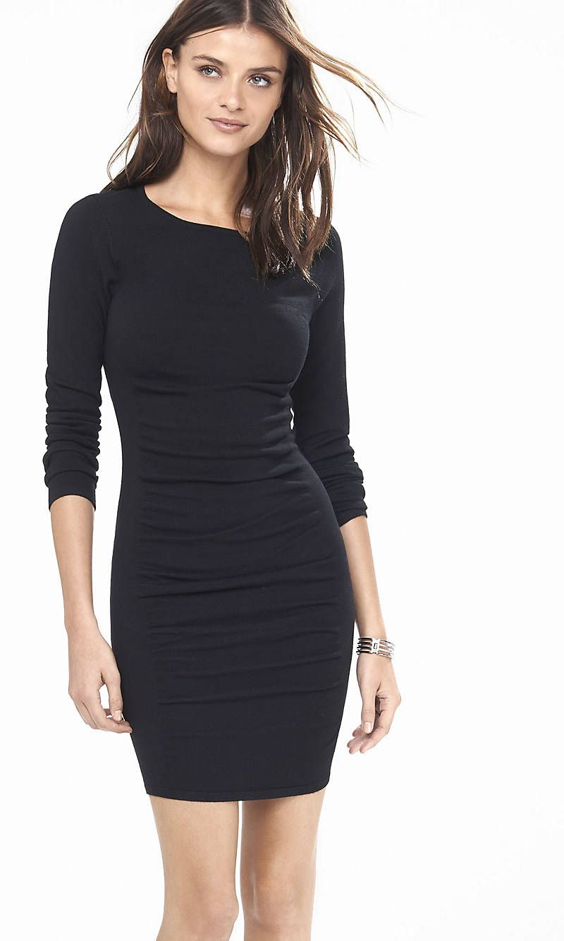 65618bd52e40f Black Ruched Sweater Dress | Express | /ook | Dresses, Black long ...