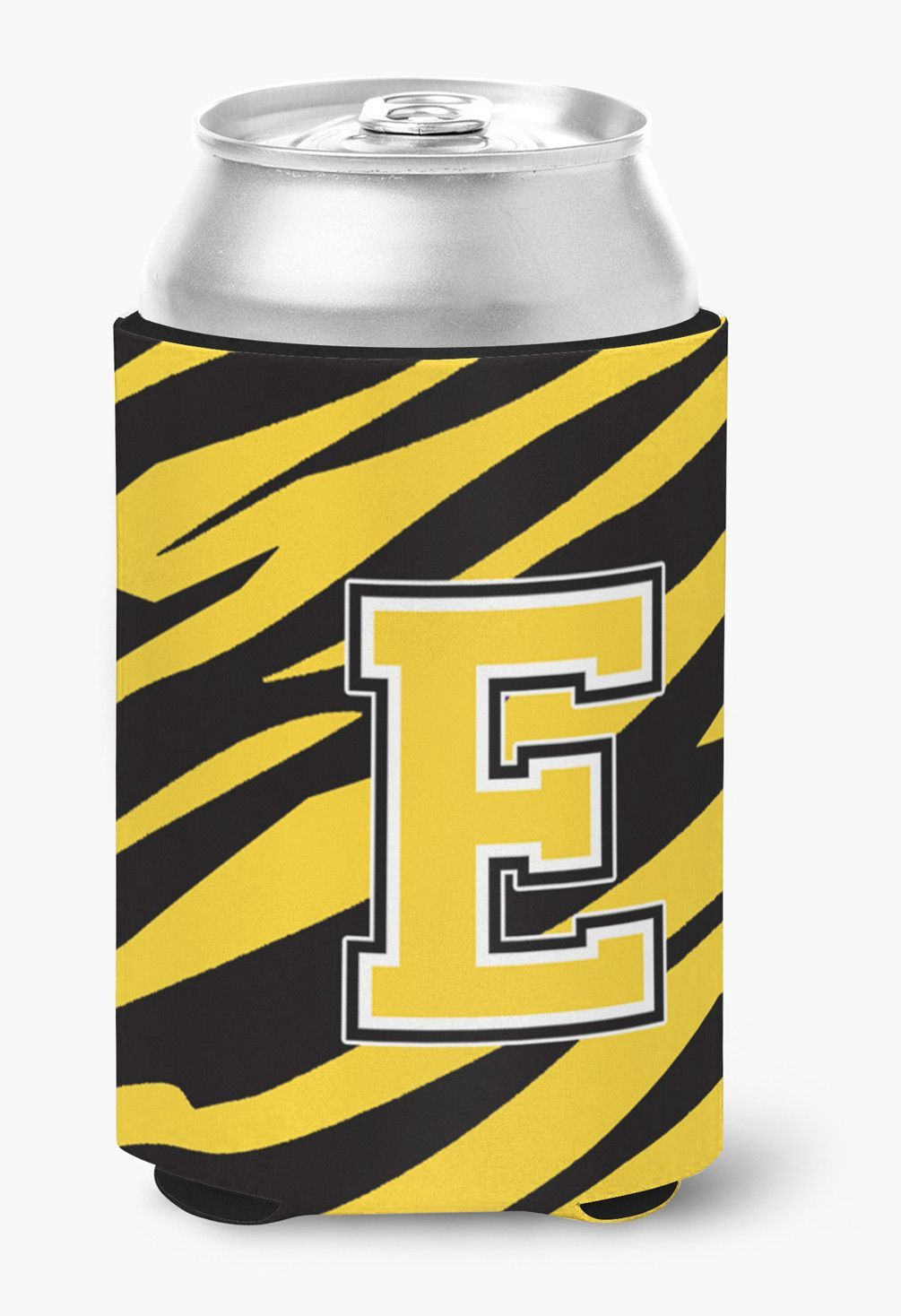 Letter E Initial Monogram - Tiger Stripe -Black Gold Can Beverage Insulator Hugger