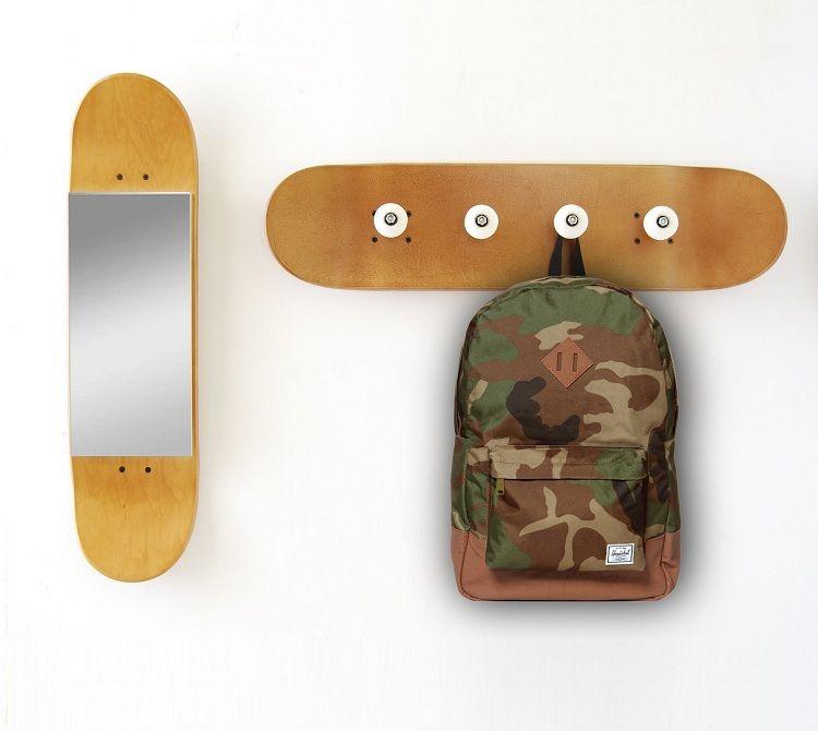 flurm bel aus alten skateboards selber bauen kleiderhacken und spiegel zimmer n pinterest. Black Bedroom Furniture Sets. Home Design Ideas