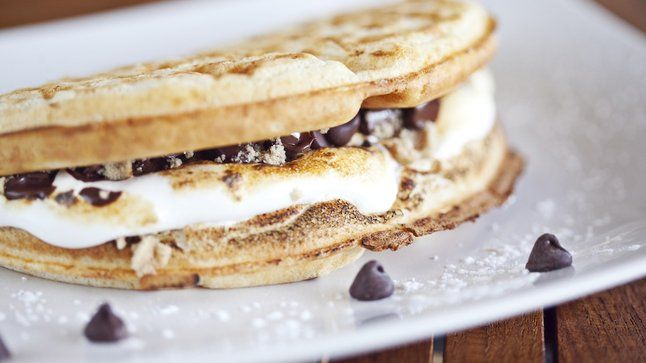 Belgian S'mores at Waffold. Sugar up with this toasted marshmallow/ dark Belgian chocolate beauty that gets crumbles of graham crackers, who finally prove that those lovable hillbillies from that tiny South GA town are good for something.