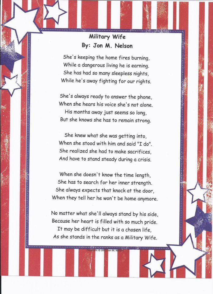 Poem Military Wife. Dedicated to my wife and all the
