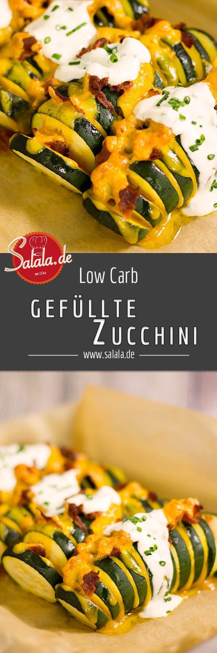 Gefüllte Zucchini mit Bacon und Cheddar  Gesunde Rezepte