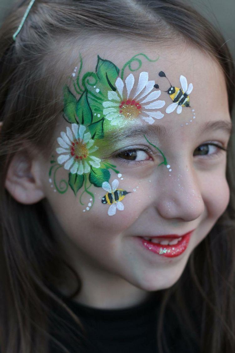 Biene Schminken Dezent Blumen Madchen Fasching Party Carnival