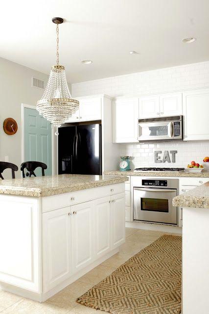 Tan Tile Floors White Subway White Cabinets Tan Granite