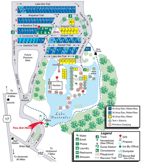 Park Map For Lake Aire Rv Park Hollywood South Carolina Rv Parks Lake Campground