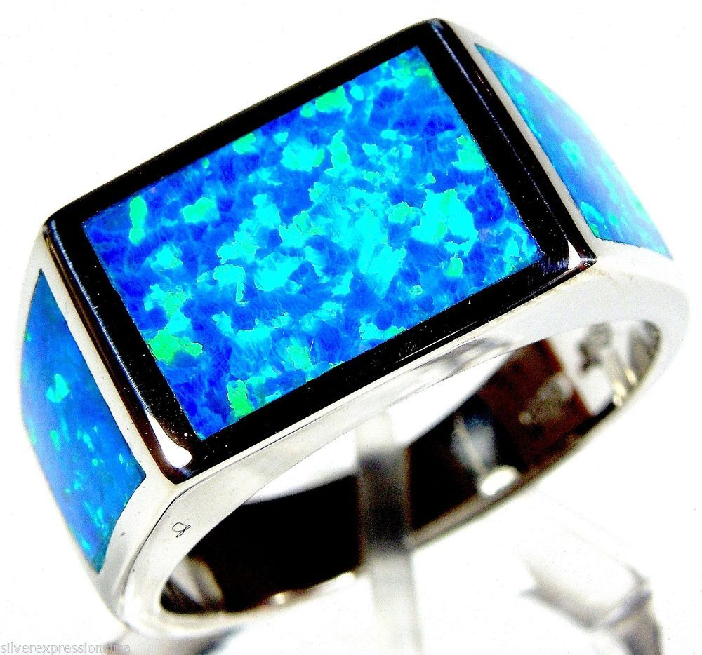 High Quality Blue Fire Opal Inlay Solid 925 Sterling