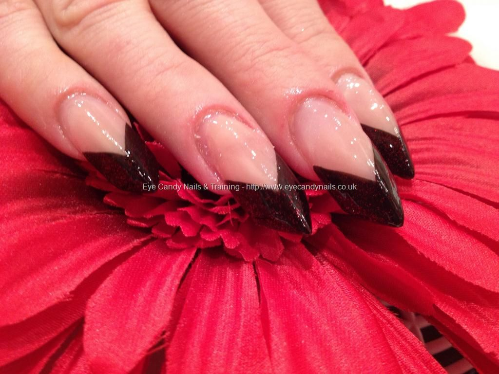 The Edge Acrylic Nails With Black And Red Glitter Tips