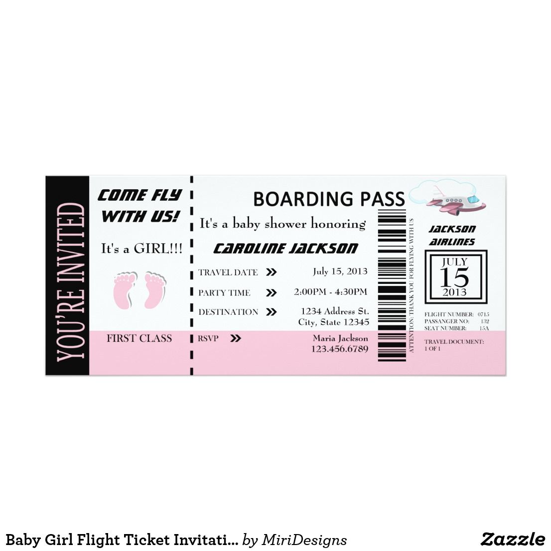 Add Your Details To The Front Of This Baby Flight Ticket Invitation Shower