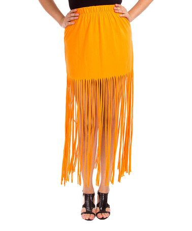 Love this Orange Fringe Maxi Skirt - Plus on #zulily! #zulilyfinds