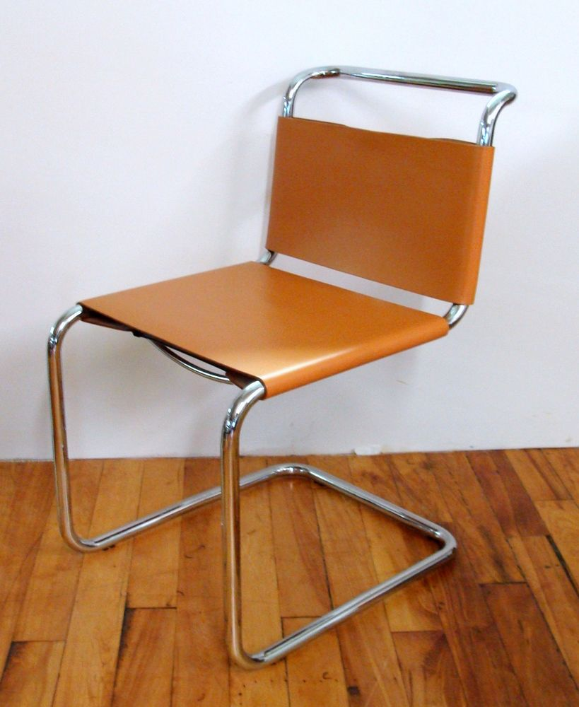 Bauhaus Stam Cantilever Chrome Chair Lace Up Leather Ebay