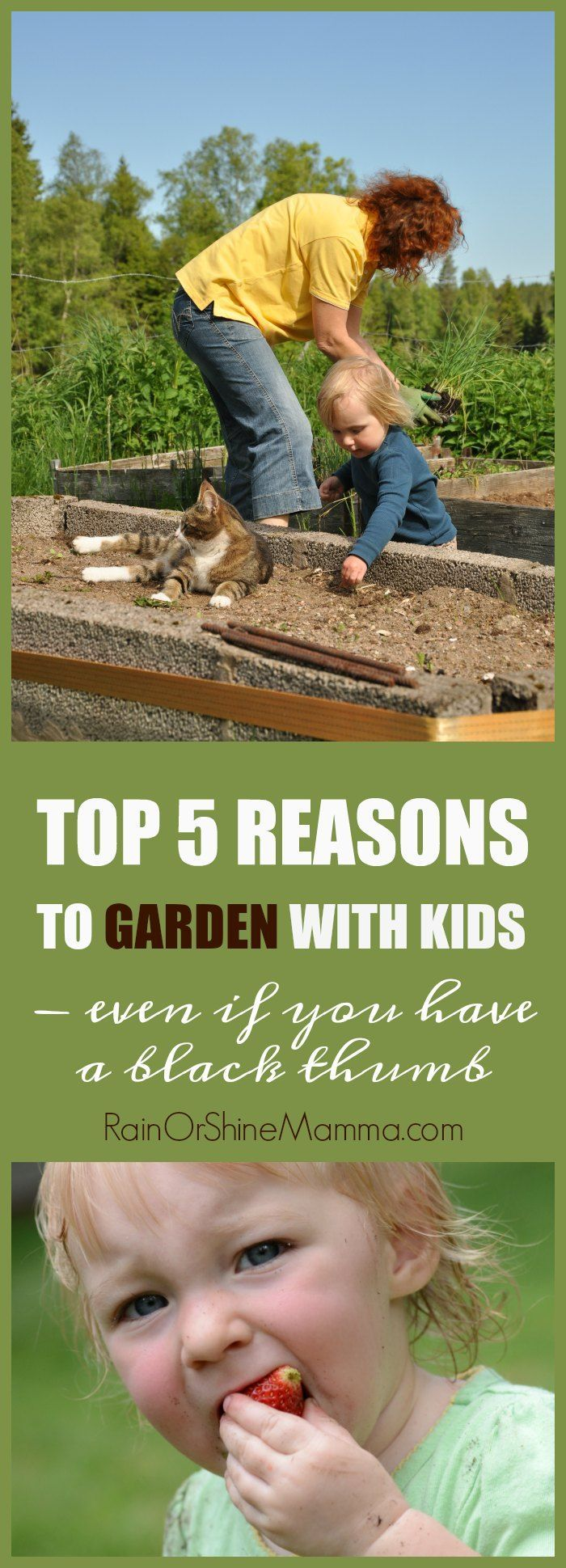 Top 5 Reasons to Garden with Kids - Even if you have a black thumb! Don't give up on gardening with your kids because of your own shortcomings or failures as a gardener. The kids can still reap many benefits from your attempts to grow your own food. Rain or Shine Mamma.