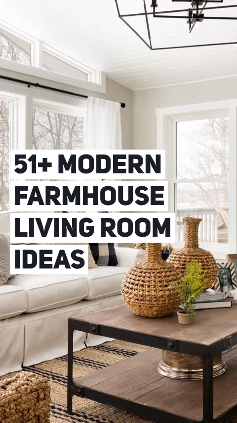 51+ Modern farmhouse living room ideas images