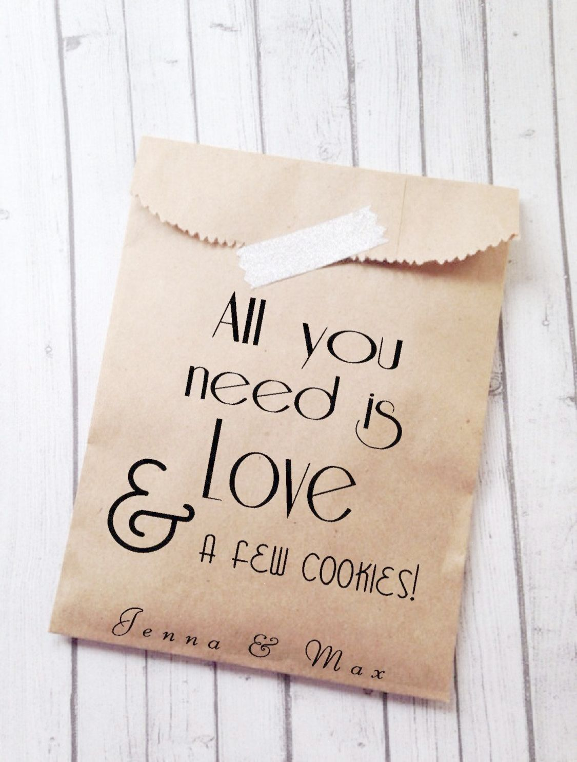 Custom Wedding Favor Bags Trendy Modern Personalized & Unique brown ...