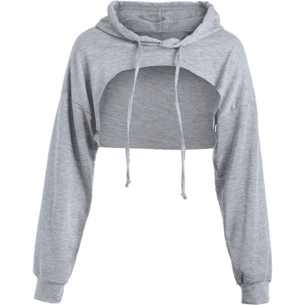 95d8edc4d865c Cut Out Drawstring Crop Hoodie ( 16) ❤ liked on Polyvore featuring tops