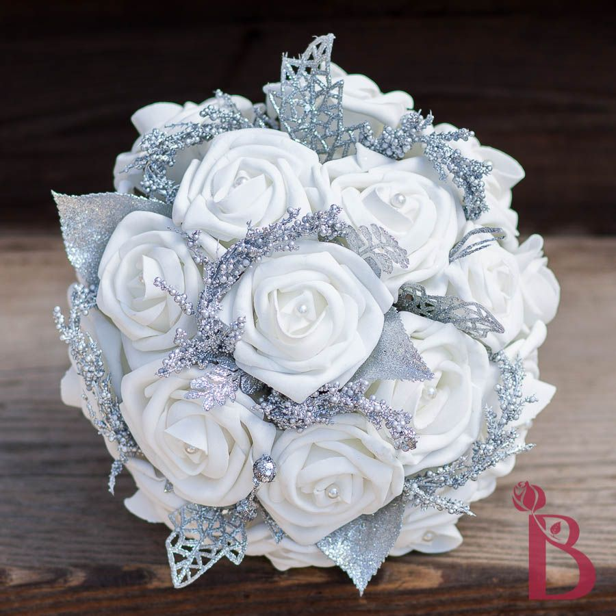 White and silver wedding bouquets skyranreborn winter wonderland bridesmaid bouquet for maid of honor winter mightylinksfo