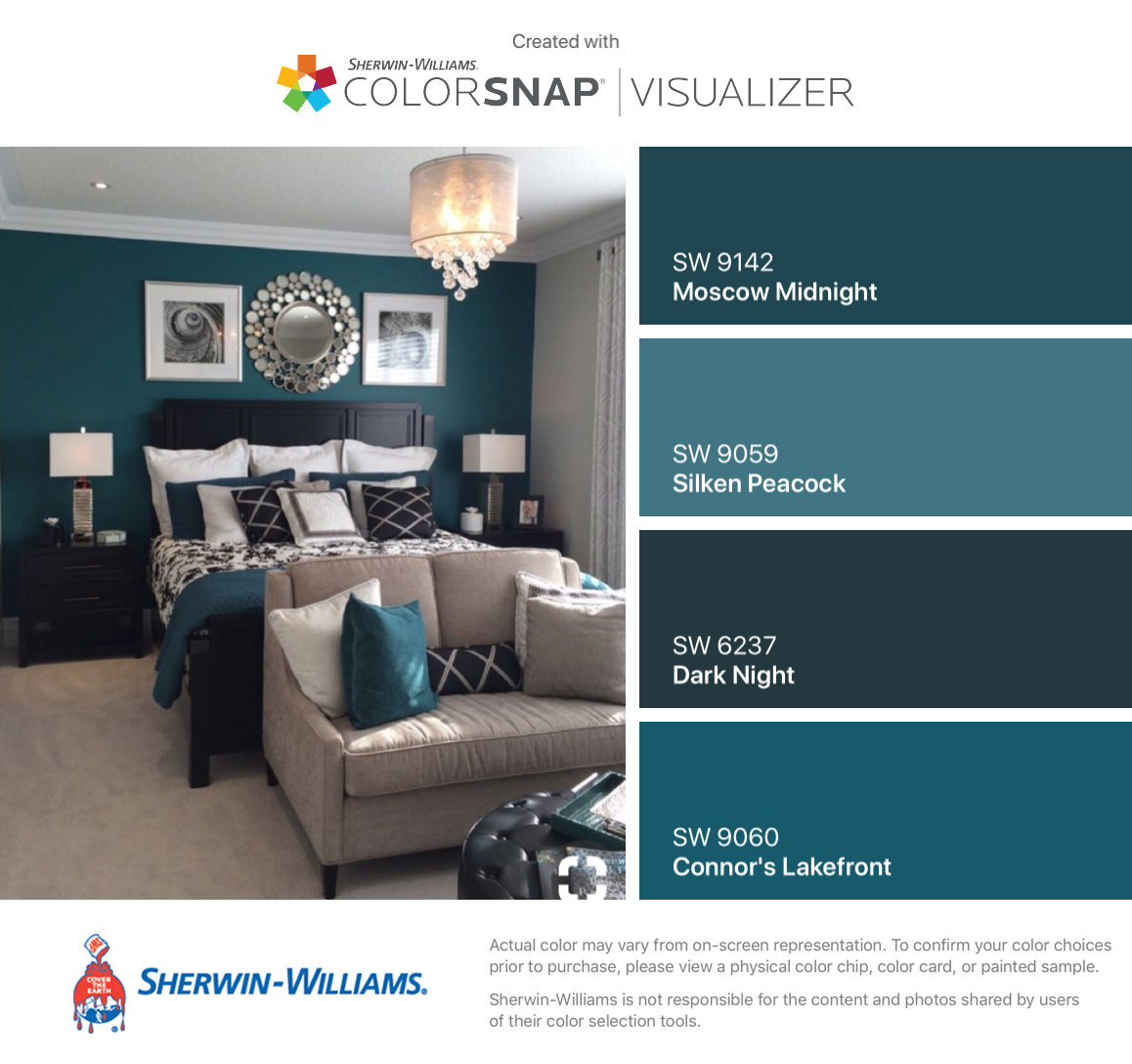 I Found These Colors With Colorsnap Visualizer For Iphone By Sherwin Williams Moscow Midnight Peacock Blue Living Room Bedroom Wall Colors Teal Accent Walls