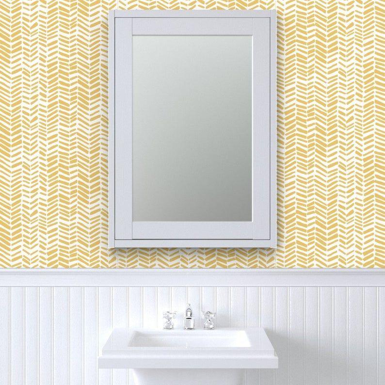 Herringbone Wallpaper Impression White Mustard By Leanne Etsy Herringbone Wallpaper Wallpaper Quick Decor