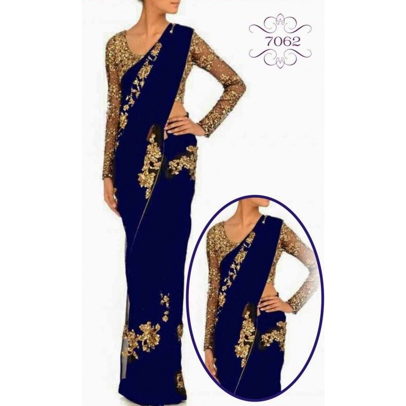 Bollywood Replica - Blue Georgette Saree With Sequance Heavy Work Blouse - 7062 (IB-654)