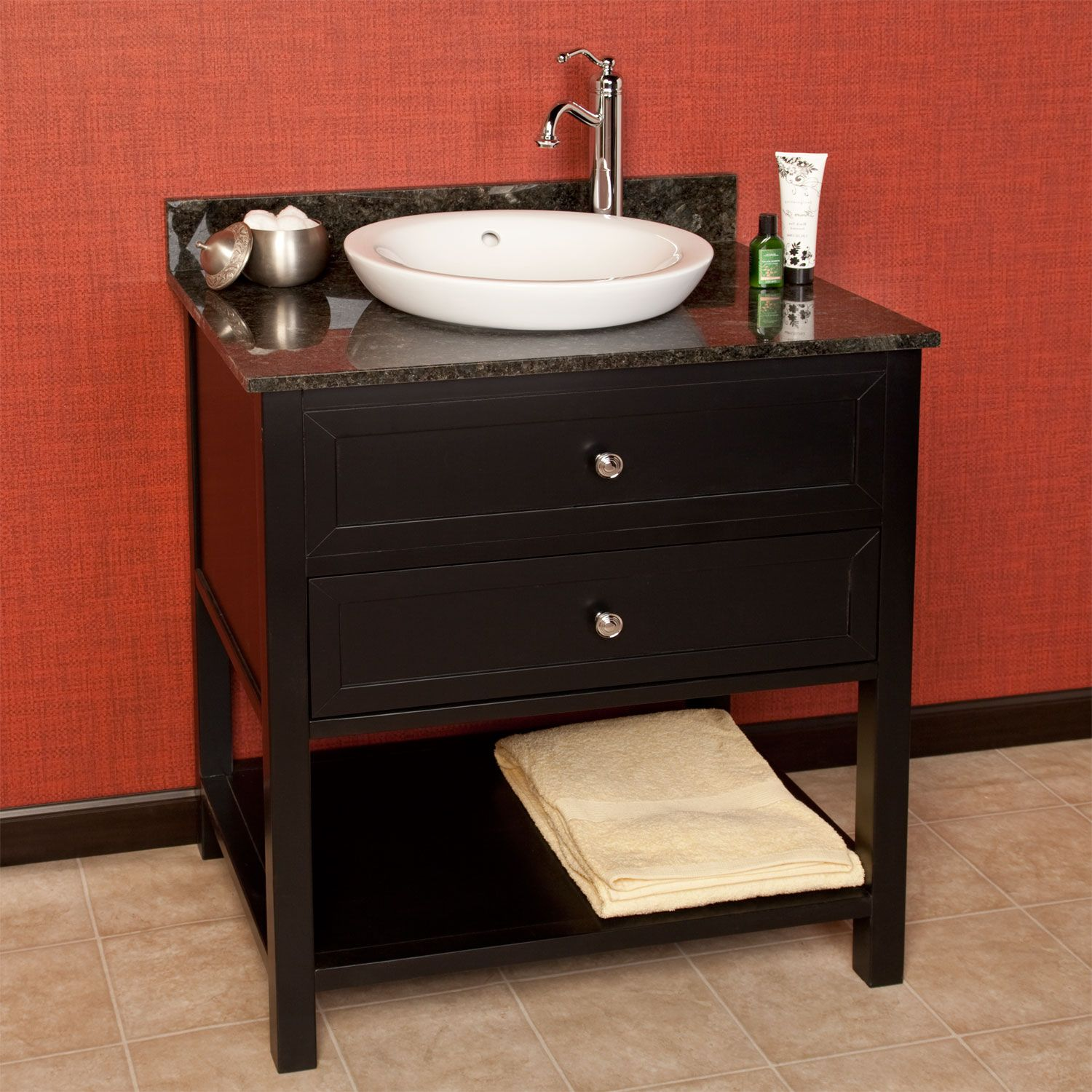 30 Black Taren Vanity Semi Recessed Basin Right Offset Faucet 3 4 Marble Top Polished Carrara 29 7 8 W X 20 D 34 1 H Also In 36